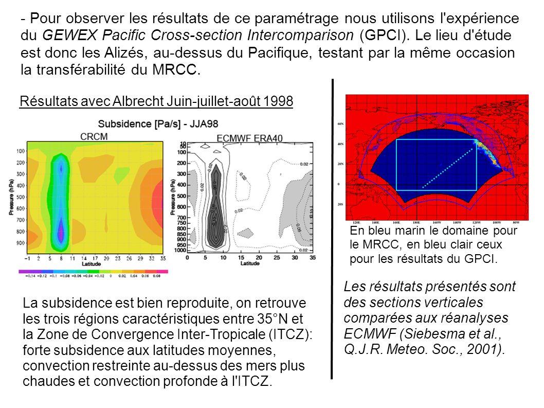 - Pour observer les résultats de ce paramétrage nous utilisons l expérience du GEWEX Pacific Cross-section Intercomparison (GPCI).