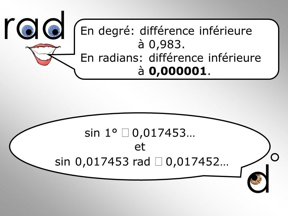 d rad En degré: différence inférieure à 0,983. En radians: différence inférieure à 0,000001. sin 1°0,017453… et sin 0,017453 rad 0,017452…