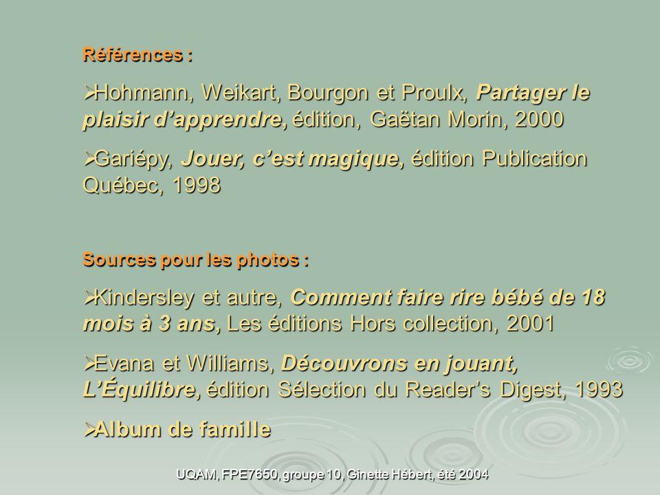 UQAM, FPE7650, groupe 10, Ginette Hébert, été 2004 Références : Hohmann, Weikart, Bourgon et Proulx, Partager le plaisir dapprendre, édition, Gaëtan M