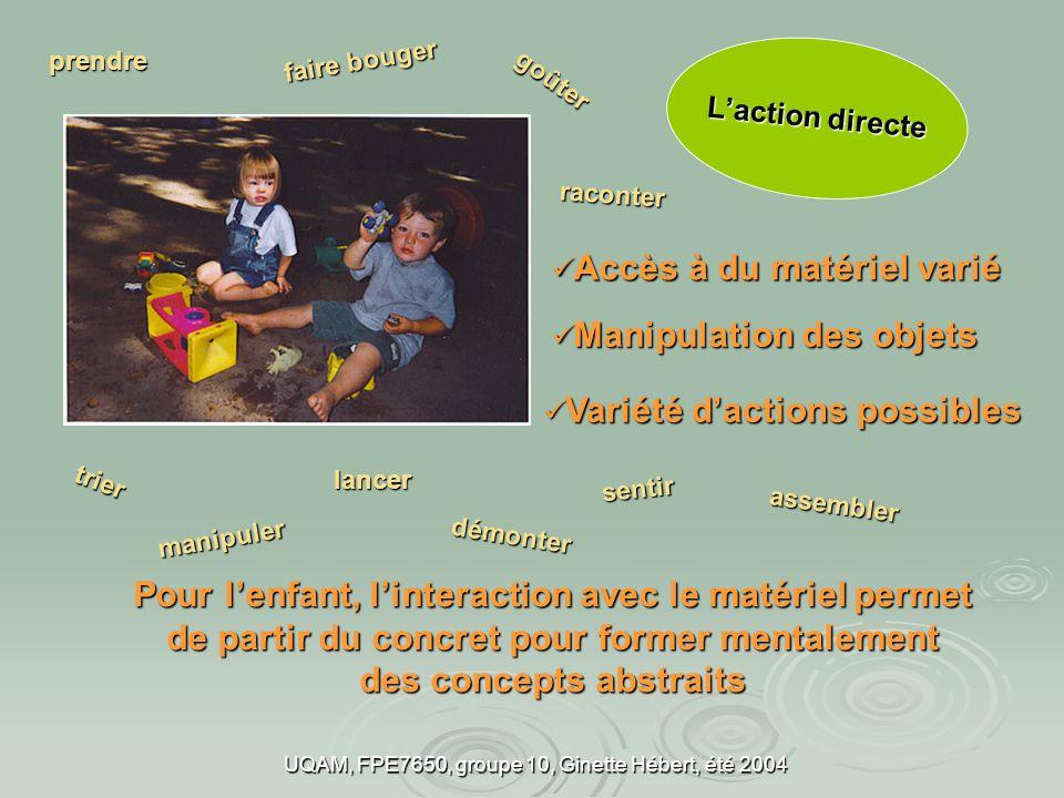 UQAM, FPE7650, groupe 10, Ginette Hébert, été 2004 Rendent possible un climat de confiance et de complicité entre adultes et enfants.