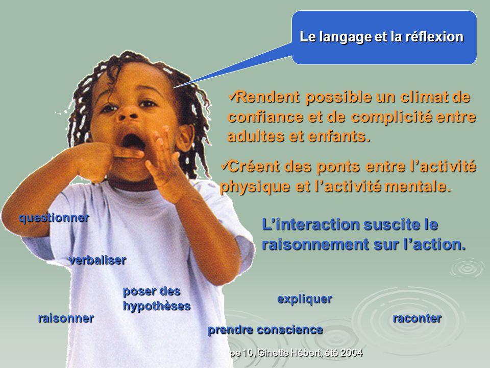 UQAM, FPE7650, groupe 10, Ginette Hébert, été 2004 La logique se construit à partir des efforts pour émettre des hypothèses, recueillir des informations, interpréter, essayer, confirmer et essayer de nouveau.