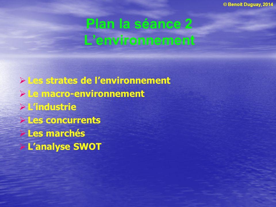© Benoit Duguay, 2014 Plan la séance 2 Lenvironnement Les strates de lenvironnement Le macro-environnement Lindustrie Les concurrents Les marchés Lana