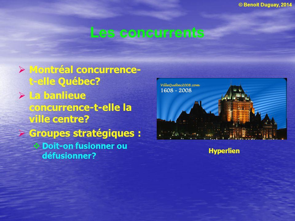 © Benoit Duguay, 2014 Les concurrents Montréal concurrence- t-elle Québec? La banlieue concurrence-t-elle la ville centre? Groupes stratégiques : Doit