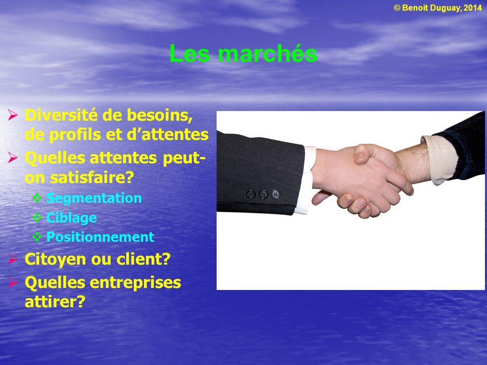 © Benoit Duguay, 2014 Les marchés Diversité de besoins, de profils et dattentes Quelles attentes peut- on satisfaire? Segmentation Ciblage Positionnem
