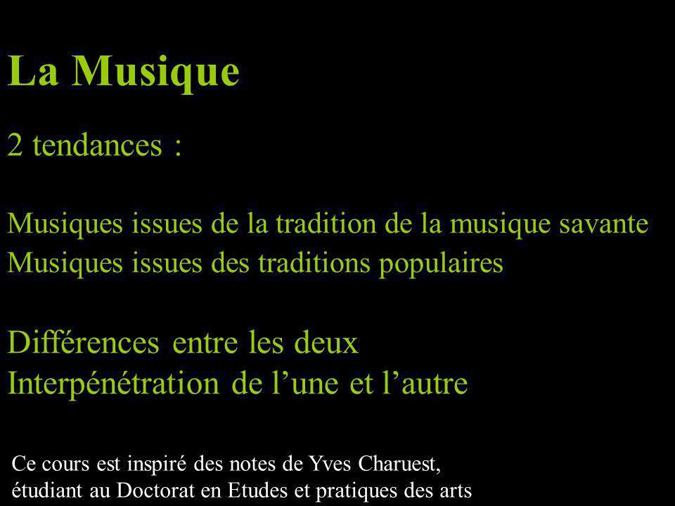 Musiques issues de la tradition savante Autonomisation Institutionalisation Réflexivité