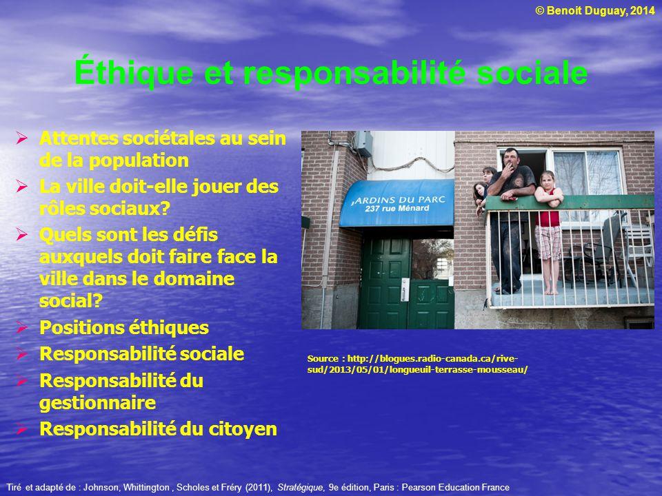 © Benoit Duguay, 2014 Éthique et responsabilité sociale Attentes sociétales au sein de la population La ville doit-elle jouer des rôles sociaux? Quels