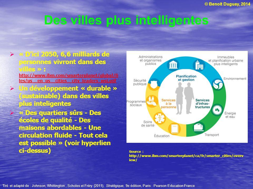 © Benoit Duguay, 2014 Des villes plus intelligentes « Dici 2050, 6,6 milliards de personnes vivront dans des villes » : http://www.ibm.com/smarterplan