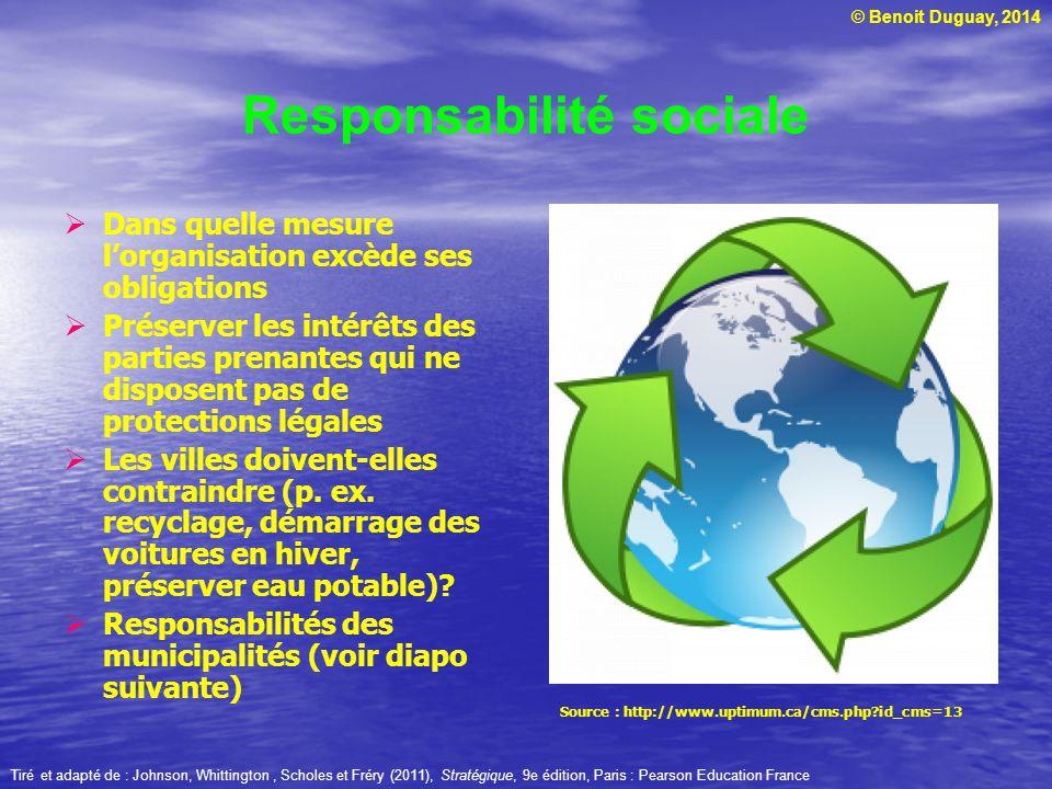 © Benoit Duguay, 2014 Responsabilité sociale Dans quelle mesure lorganisation excède ses obligations Préserver les intérêts des parties prenantes qui