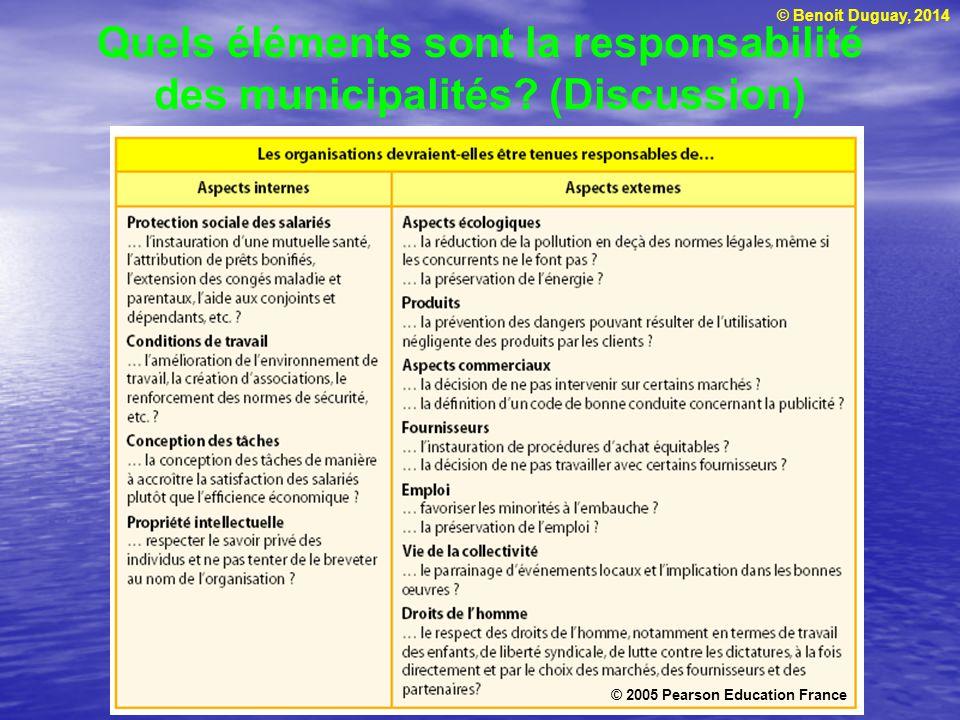 © Benoit Duguay, 2014 Quels éléments sont la responsabilité des municipalités? (Discussion) © 2005 Pearson Education France