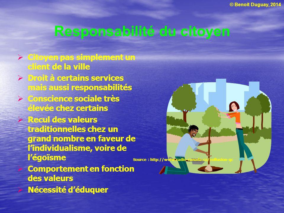 © Benoit Duguay, 2014 Responsabilité du citoyen Citoyen pas simplement un client de la ville Droit à certains services mais aussi responsabilités Cons