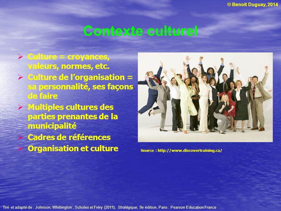 © Benoit Duguay, 2014 Contexte culturel Culture = croyances, valeurs, normes, etc. Culture de lorganisation = sa personnalité, ses façons de faire Mul