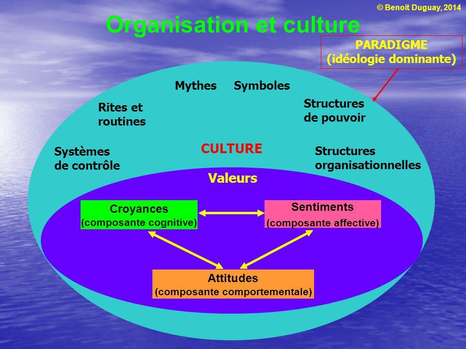 © Benoit Duguay, 2014 Organisation et culture PARADIGME (idéologie dominante) Sentiments (composante affective) Croyances (composante cognitive) Attit
