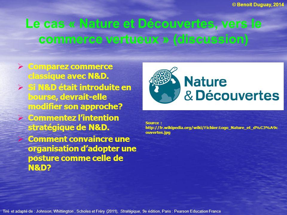 © Benoit Duguay, 2014 Le cas « Nature et Découvertes, vers le commerce vertueux » (discussion) Comparez commerce classique avec N&D. Si N&D était intr