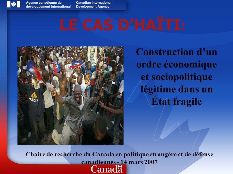 12 Le Canada en Haïti - lACDI 95 millions par année pour 5 ans Objectif: dé-fragiliser Haïti 3 axes dintervention de la stratégie intérimaire : 1)Gouvernance/Renforcement de lÉtat 2)Accès aux services de base 3)Apaisement social