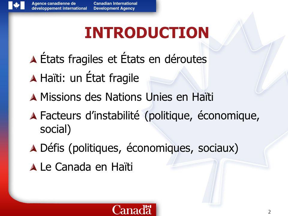 2 INTRODUCTION États fragiles et États en déroutes Haïti: un État fragile Missions des Nations Unies en Haïti Facteurs dinstabilité (politique, économ