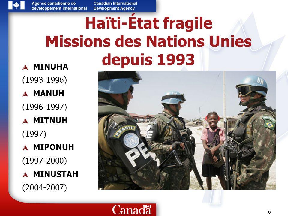 6 Haïti-État fragile Missions des Nations Unies depuis 1993 MINUHA (1993-1996) MANUH (1996-1997) MITNUH (1997) MIPONUH (1997-2000) MINUSTAH (2004-2007