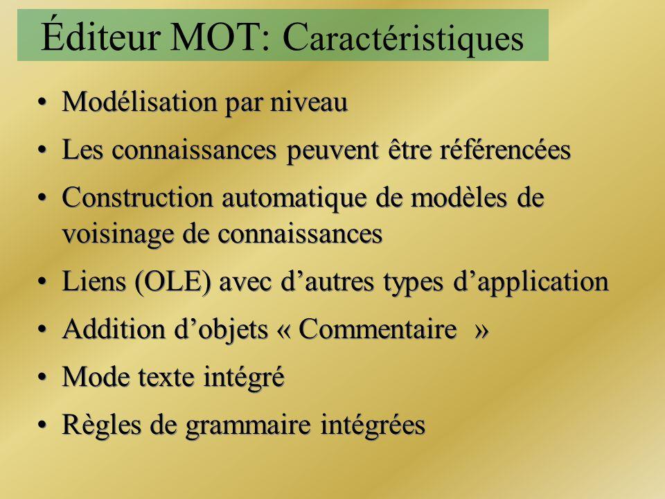 Éditeur MOT: C aractéristiques Modélisation par niveau Les connaissances peuvent être référencées Construction automatique de modèles de voisinage de