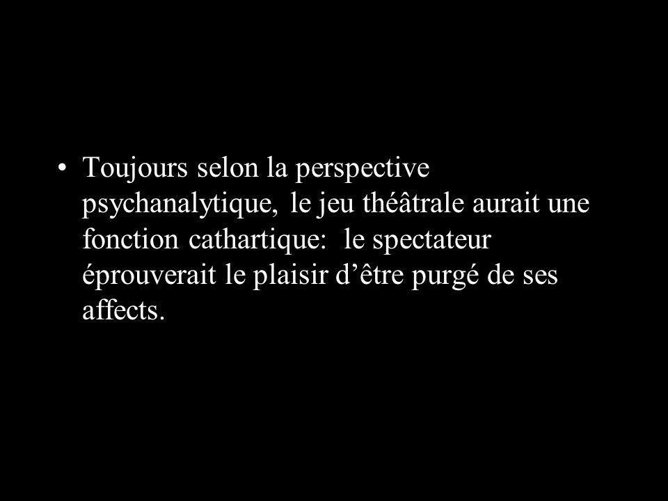 Toujours selon la perspective psychanalytique, le jeu théâtrale aurait une fonction cathartique: le spectateur éprouverait le plaisir dêtre purgé de ses affects.