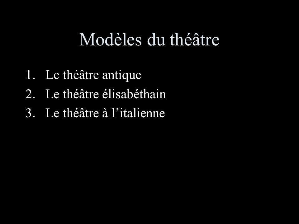 Modèles du théâtre 1.Le théâtre antique 2.Le théâtre élisabéthain 3.Le théâtre à litalienne