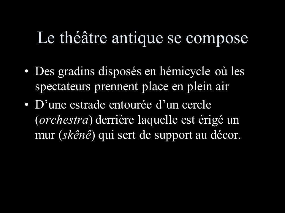 Le théâtre antique se compose Des gradins disposés en hémicycle où les spectateurs prennent place en plein air Dune estrade entourée dun cercle (orchestra) derrière laquelle est érigé un mur (skênê) qui sert de support au décor.