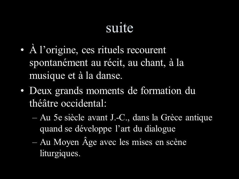 suite À lorigine, ces rituels recourent spontanément au récit, au chant, à la musique et à la danse.