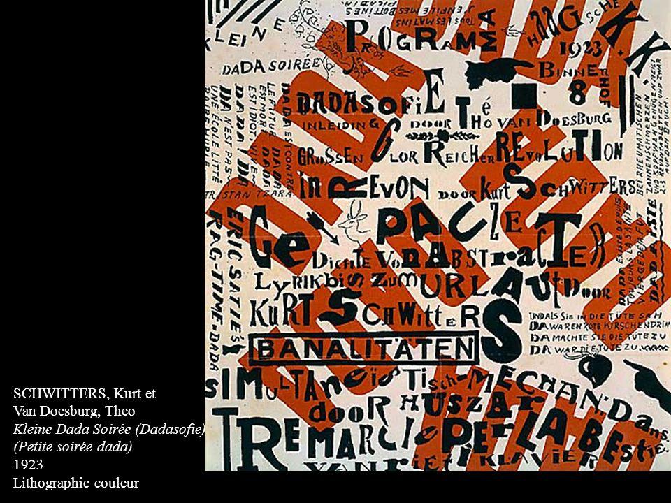 SCHWITTERS, Kurt et Van Doesburg, Theo Kleine Dada Soirée (Dadasofie) (Petite soirée dada) 1923 Lithographie couleur