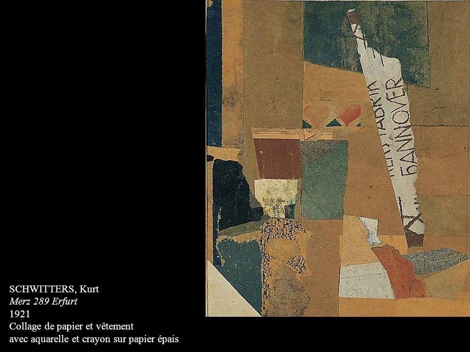 SCHWITTERS, Kurt Merz 289 Erfurt 1921 Collage de papier et vêtement avec aquarelle et crayon sur papier épais