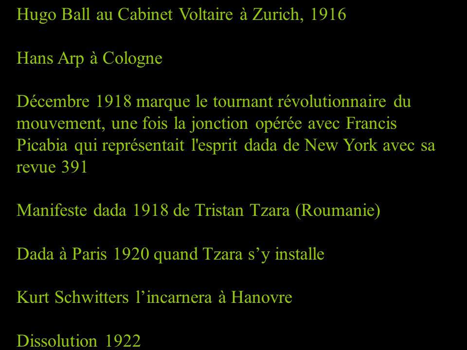 Hugo Ball au Cabinet Voltaire à Zurich, 1916 Hans Arp à Cologne Décembre 1918 marque le tournant révolutionnaire du mouvement, une fois la jonction op