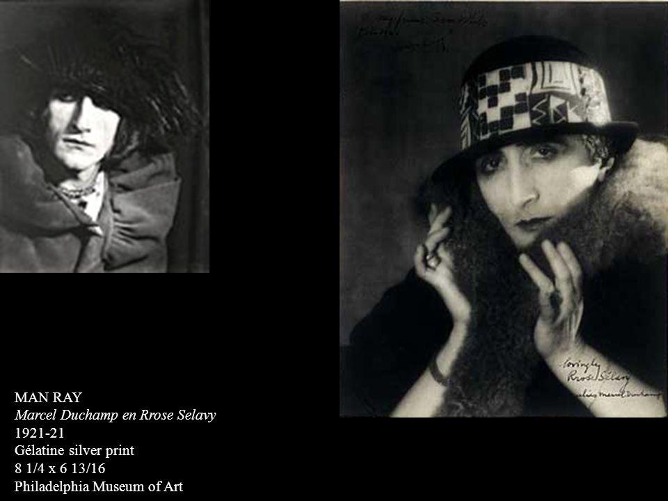 MAN RAY Marcel Duchamp en Rrose Selavy 1921-21 Gélatine silver print 8 1/4 x 6 13/16 Philadelphia Museum of Art