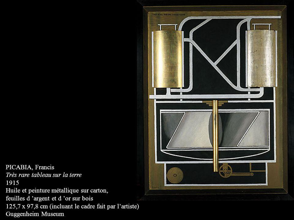 PICABIA, Francis Très rare tableau sur la terre 1915 Huile et peinture métallique sur carton, feuilles d argent et d or sur bois 125,7 x 97,8 cm (incl