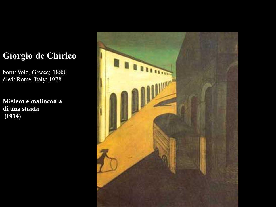 Giorgio de Chirico born: Volo, Greece; 1888 died: Rome, Italy; 1978 Mistero e malinconia di una strada (1914)