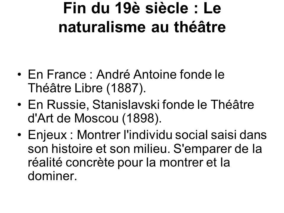 Fin du 19è siècle : Le naturalisme au théâtre En France : André Antoine fonde le Théâtre Libre (1887). En Russie, Stanislavski fonde le Théâtre d'Art