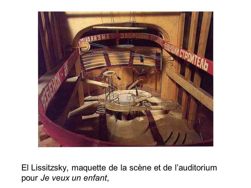 El Lissitzsky, maquette de la scène et de lauditorium pour Je veux un enfant,