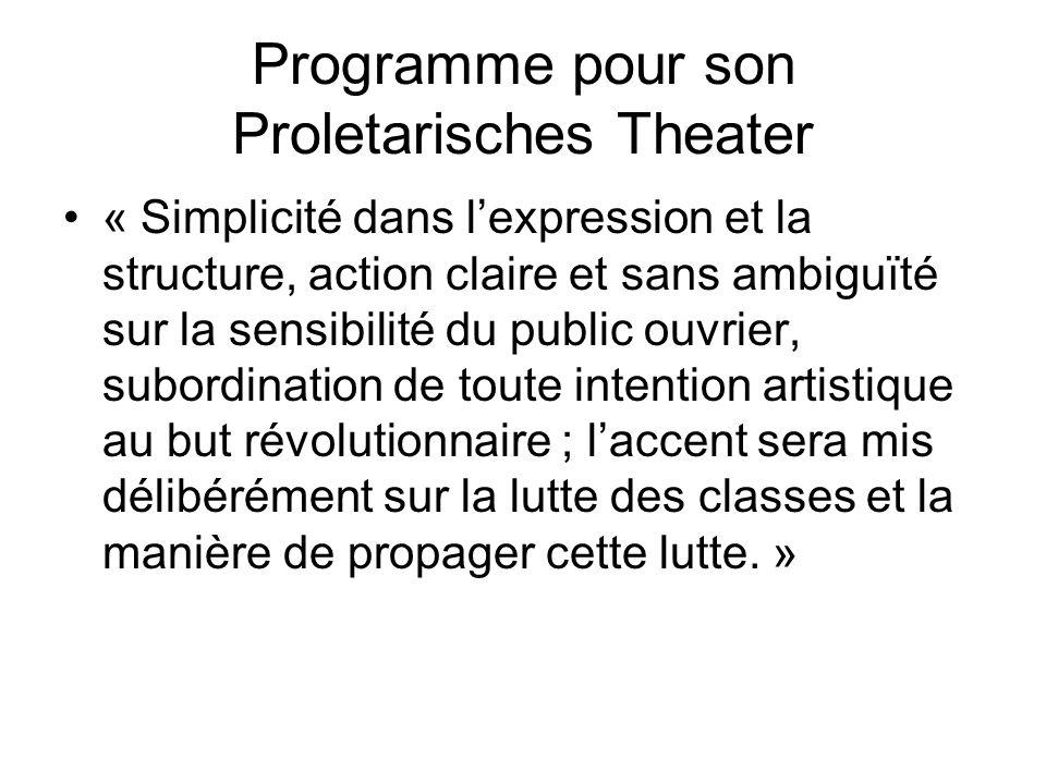 Programme pour son Proletarisches Theater « Simplicité dans lexpression et la structure, action claire et sans ambiguïté sur la sensibilité du public