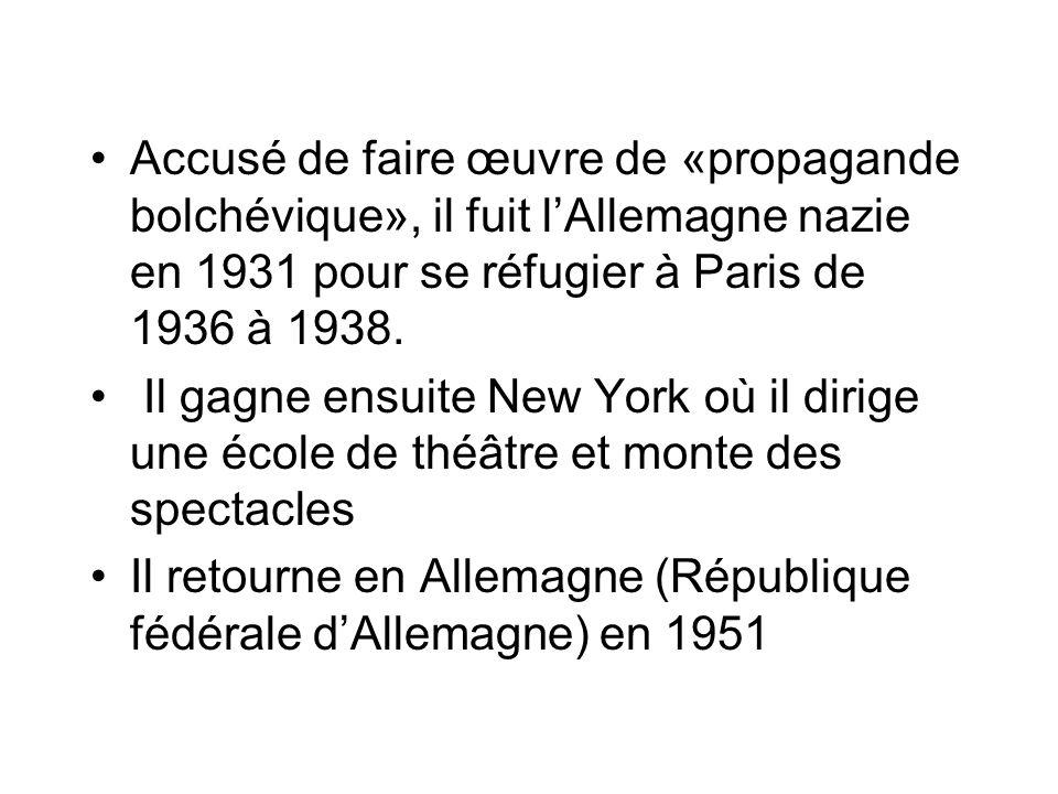 Accusé de faire œuvre de «propagande bolchévique», il fuit lAllemagne nazie en 1931 pour se réfugier à Paris de 1936 à 1938. Il gagne ensuite New York