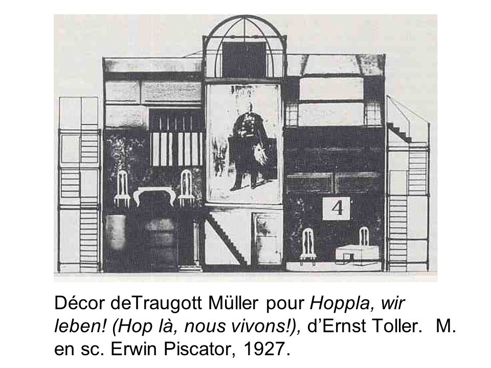 Décor deTraugott Müller pour Hoppla, wir leben! (Hop là, nous vivons!), dErnst Toller. M. en sc. Erwin Piscator, 1927.