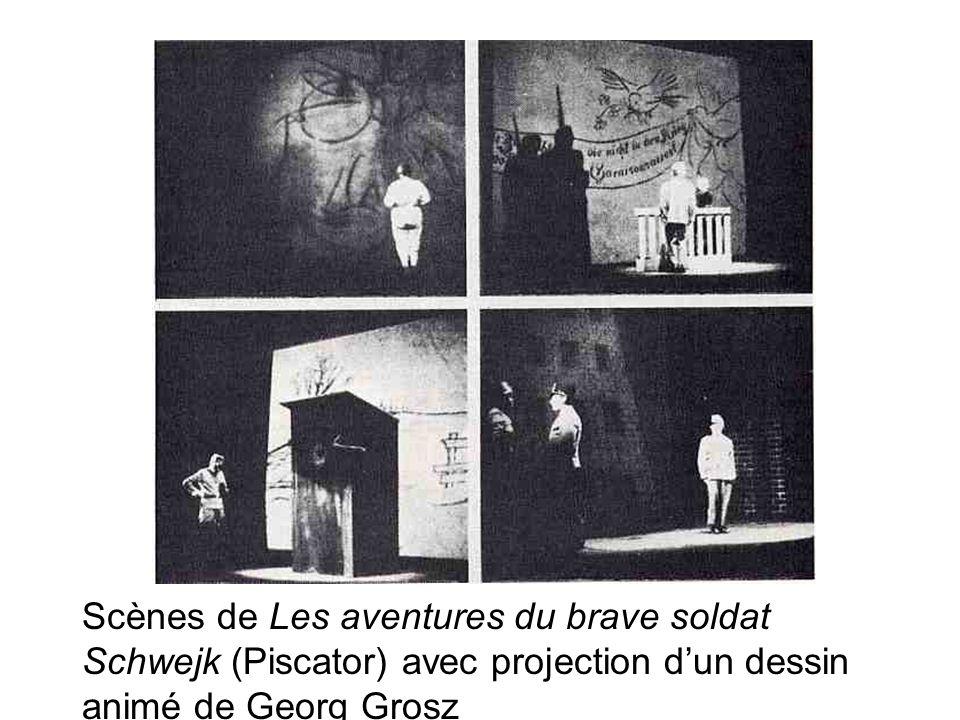 Scènes de Les aventures du brave soldat Schwejk (Piscator) avec projection dun dessin animé de Georg Grosz