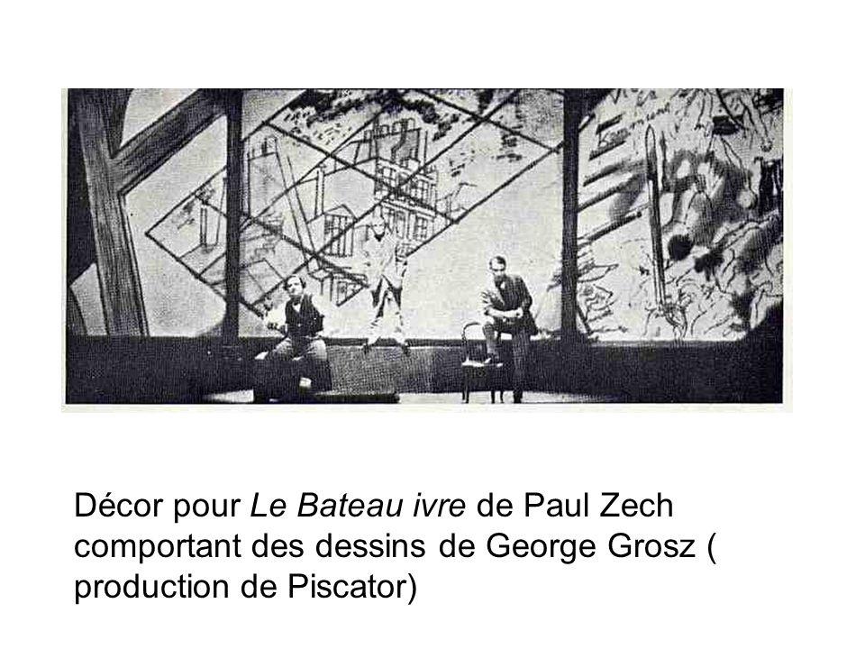 Décor pour Le Bateau ivre de Paul Zech comportant des dessins de George Grosz ( production de Piscator)