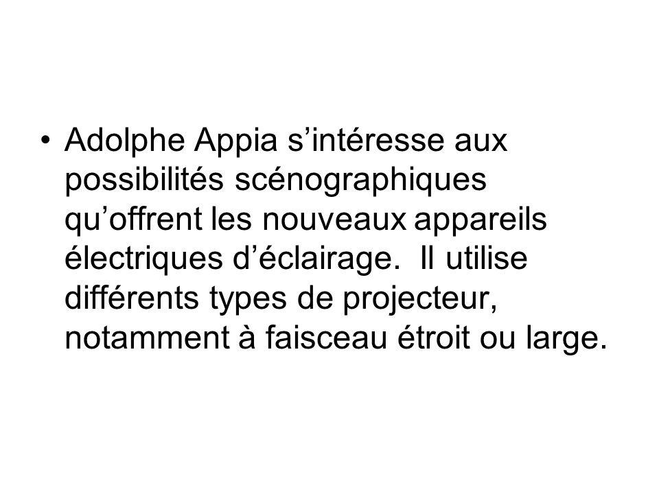 Adolphe Appia sintéresse aux possibilités scénographiques quoffrent les nouveaux appareils électriques déclairage. Il utilise différents types de proj