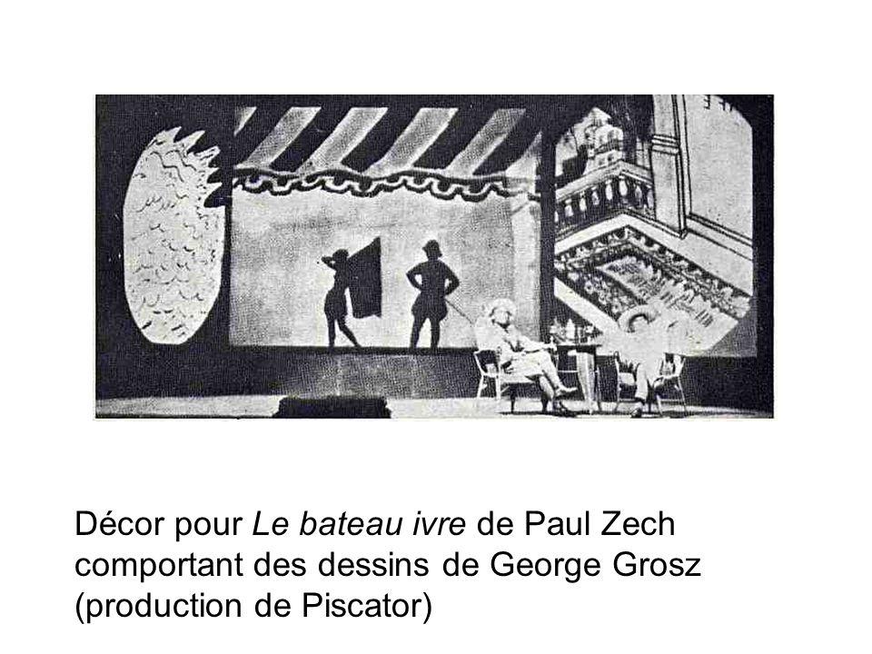Décor pour Le bateau ivre de Paul Zech comportant des dessins de George Grosz (production de Piscator)