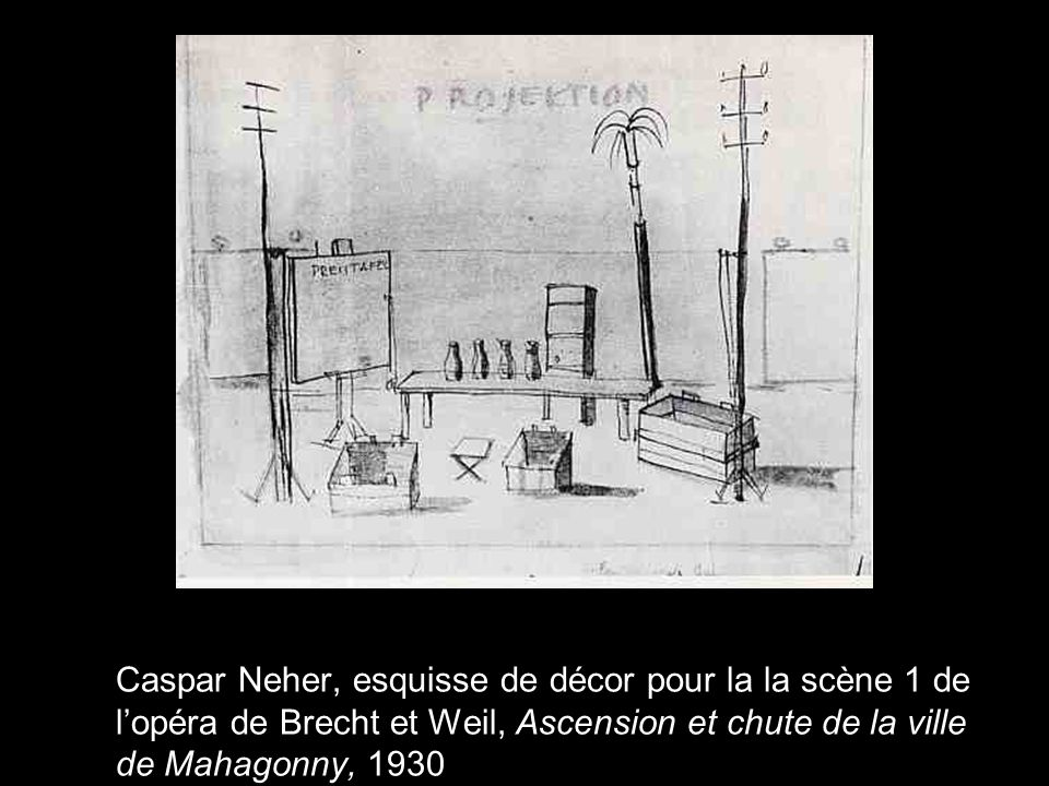 Caspar Neher, esquisse de décor pour la la scène 1 de lopéra de Brecht et Weil, Ascension et chute de la ville de Mahagonny, 1930