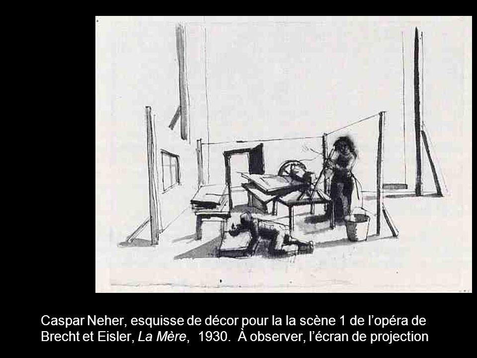 Caspar Neher, esquisse de décor pour la la scène 1 de lopéra de Brecht et Eisler, La Mère, 1930. À observer, lécran de projection