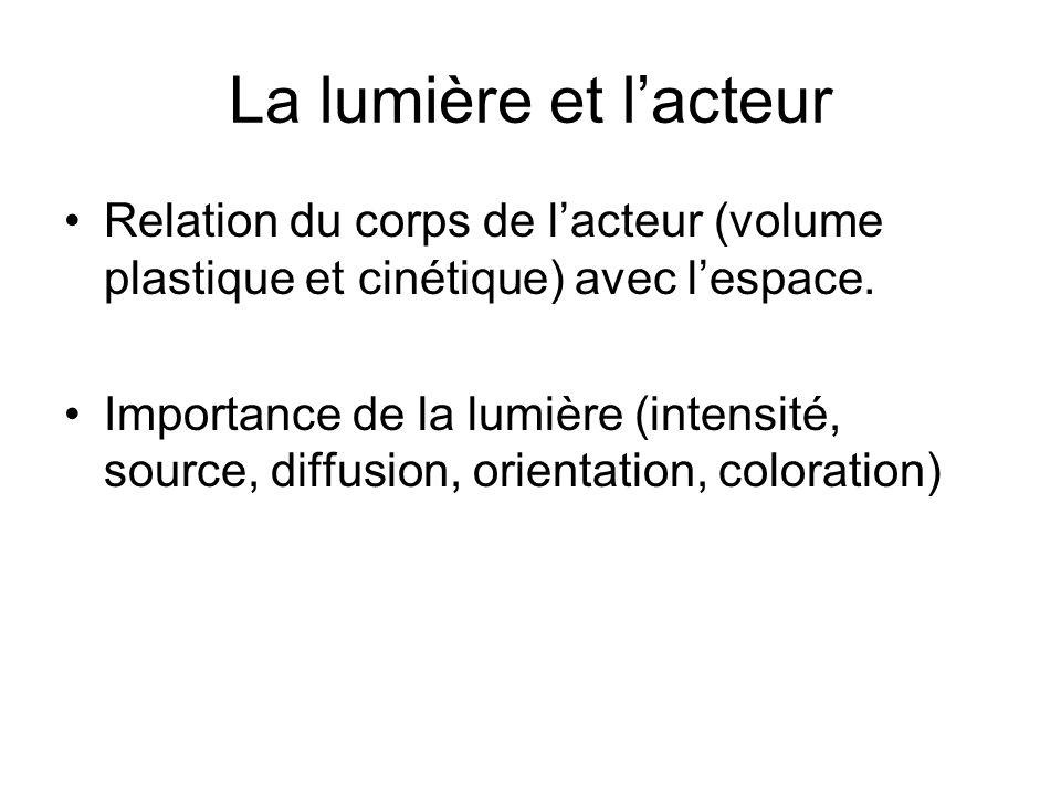 La lumière et lacteur Relation du corps de lacteur (volume plastique et cinétique) avec lespace. Importance de la lumière (intensité, source, diffusio
