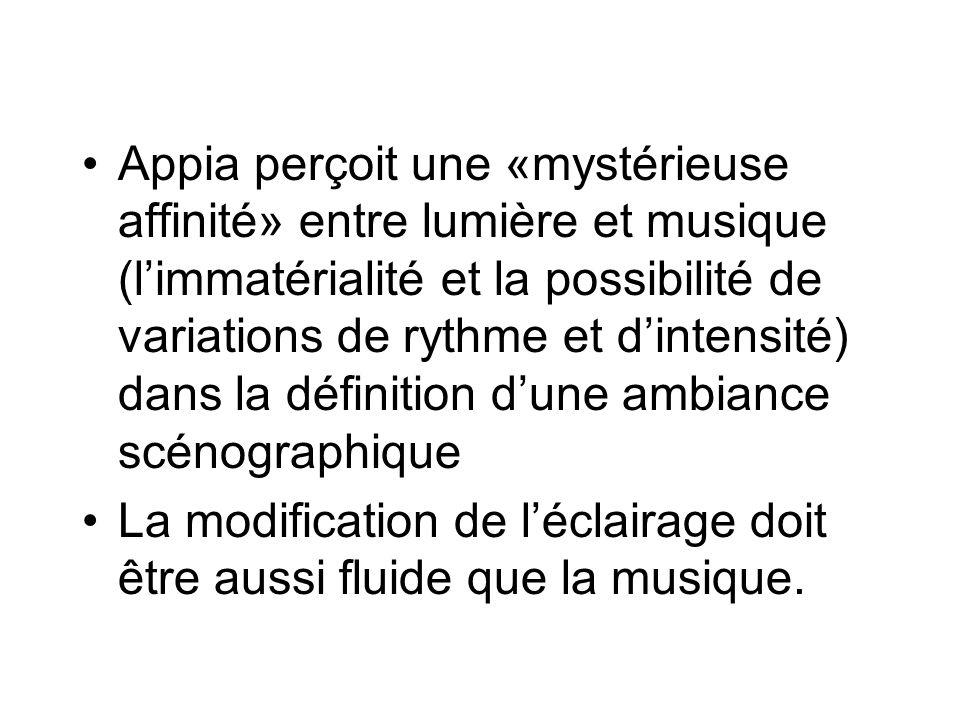 Appia perçoit une «mystérieuse affinité» entre lumière et musique (limmatérialité et la possibilité de variations de rythme et dintensité) dans la déf