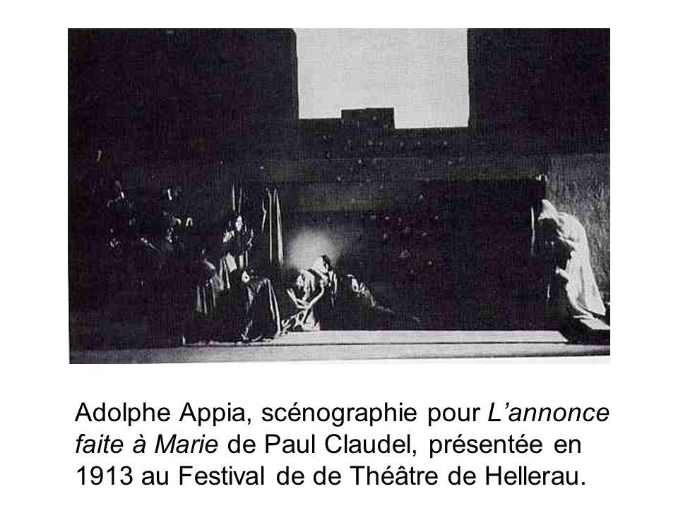 Adolphe Appia, scénographie pour Lannonce faite à Marie de Paul Claudel, présentée en 1913 au Festival de de Théâtre de Hellerau.