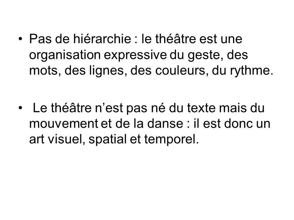 Pas de hiérarchie : le théâtre est une organisation expressive du geste, des mots, des lignes, des couleurs, du rythme. Le théâtre nest pas né du text