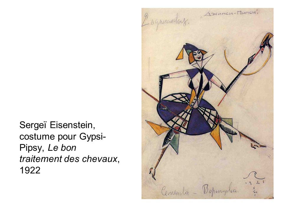 Sergeï Eisenstein, costume pour Gypsi- Pipsy, Le bon traitement des chevaux, 1922