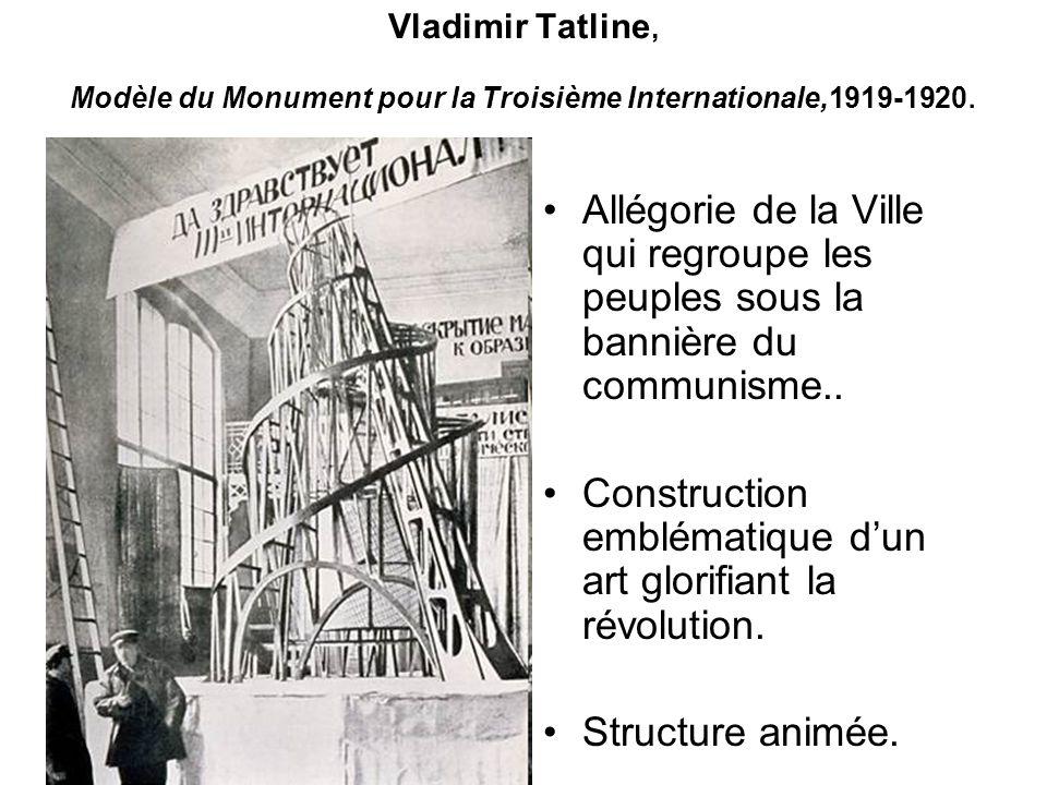 Vladimir Tatline, Modèle du Monument pour la Troisième Internationale,1919-1920. Allégorie de la Ville qui regroupe les peuples sous la bannière du co