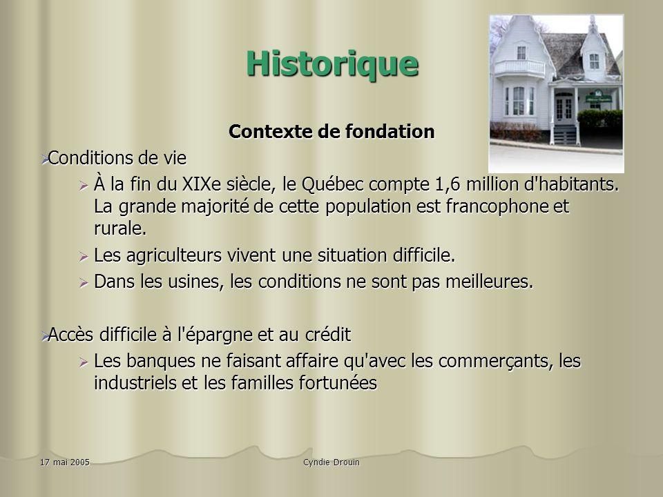 Cyndie Drouin17 mai 2005 Historique Contexte de fondation Conditions de vie Conditions de vie À la fin du XIXe siècle, le Québec compte 1,6 million d habitants.