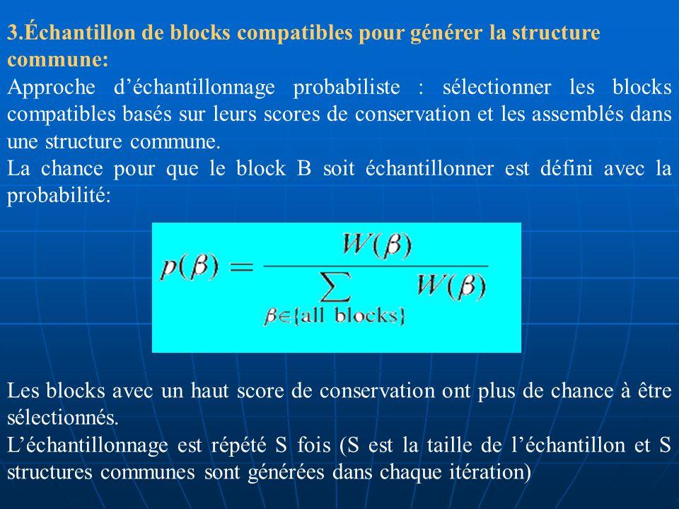 2. Générer une liste de blocks: Une liste complète de blocks est produite en alignant chaque tige de la séquence A, aux différentes tiges de la séquen